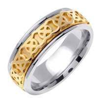 14K 2-TONE GOLD WEDDING BAND RING